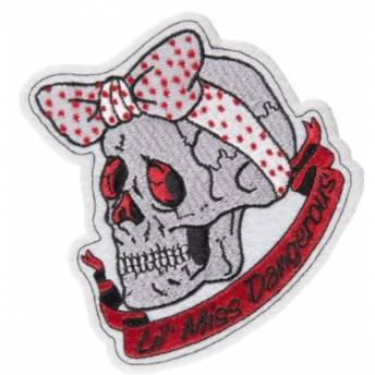 LETHAL THREAT SEW-ON BADGE TOP HAT SKULL