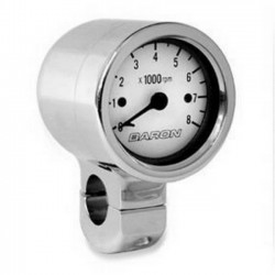 Tachometer WHITE CHROME HANDLEBAR 1 ""