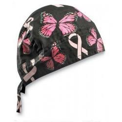 BANDANA BREAST CANCER AND BUTTERFLIES ribonn FLYDANNA ®