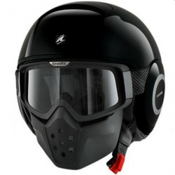 RAW SHARK HELMET JET BLACK SHINE