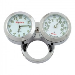 "Thermometer and Clock HANDLEBAR 1 ""and 1/4"" WHITE"
