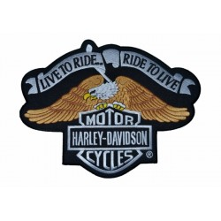 PARCHE HARLEY DAVIDSON LIVE TO RIDE RIDE TO LIVE 28 X 21.5 CM