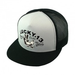 CAP TRUCKER LUCKY 13 MR. WOLF BLACK AND WHITE