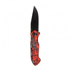 BLACK AND RED SKULL POCKET KNIFE