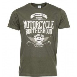 GASOLINE BANDIT MOTORCYCLE BROTHERHOOD GREEN OLIVE T-SHIRT