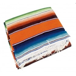 TEXAS MEXICAN BLANKET SUPPORT BLACK LEATHER WITH ORANGE SARAPE COZUMEL