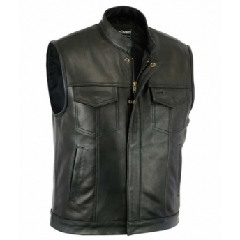 SOA BLACK LEATHER VEST