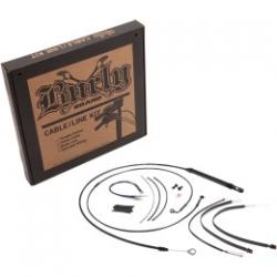 "BURLY BRAND BLACK 12"" CABLE KIT FOR HARLEY DAVIDSON DYNA FXD 2006"