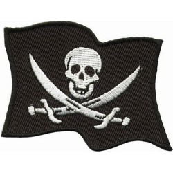 PIRATE FLAG PATCH 19 X 24 CM