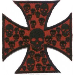 MAKE Maltesse SKULLS CROSS PATCH